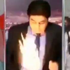 Watch: A Pakistani news anchor was hit by a ball of fire during a live telecast