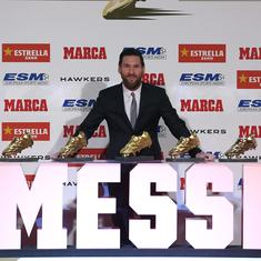 Lionel Messi wins Europe's Golden Shoe award for record fifth time