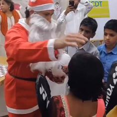 Watch: Sachin Tendulkar turned into Santa Claus to surprise kids at a childcare home