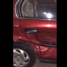 Watch: A woman's phone turned her car crash photos into a video with upbeat music
