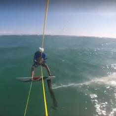 Watch the moment an Australian kite surfer crashed into a shark during a training exercise