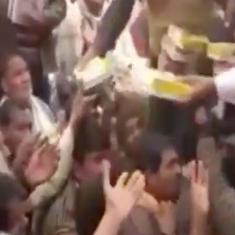 Watch: Liquor distributed at temple event organised by BJP leader Naresh Agrawal's son in UP