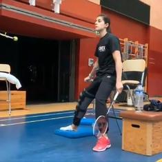 Watch: Carolina Marin trains on crutches a week after surgery of ruptured knee ligaments