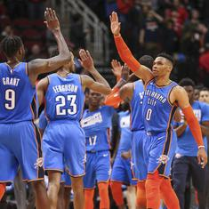 NBA wrap: Russell Westbrook matches 51-year-old record as Thunder roar back to shock Rockets