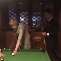 Watch: Theresa May's impromptu game of pool with the Italian president sparked a barrage of jokes