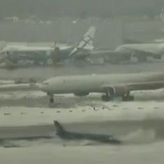 Watch: Business jet overshoots runway in Moscow, all passengers safe