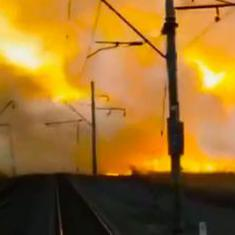 Watch: The Trans-Siberian train passes safely through a raging wildfire in far-east Russia