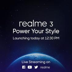 Realme 3 set to be unveiled in New Delhi, event kicks off at 12.30 pm today