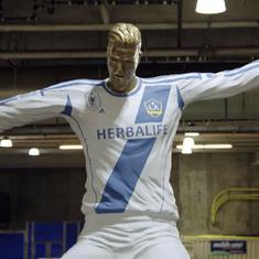 Watch: David Beckham falls for a hilarious fake statue prank by TV show host James Corden