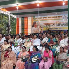 West Bengal: TMC workers begin dharna against BJP's demand to declare polling booths super sensitive