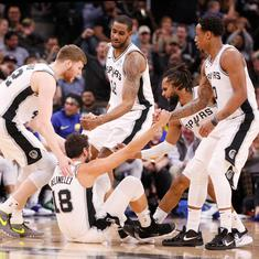NBA: Spurs topple Warriors for ninth straight win, Nuggets beat Celtics to seal playoff spot