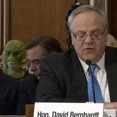 Watch: Horror movie character spotted at confirmation hearing for Trump's interior secretary nominee