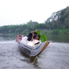 Watch: Kerala couple's wedding photo shoot on a boat goes awry after they are tipped into the river