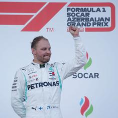 Formula One: Mercedes' Bottas edges out teammate Hamilton to clinch Azerbaijan Grand Prix