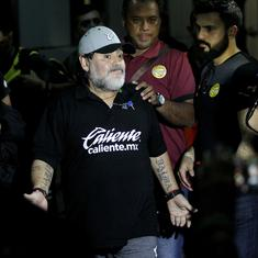 Diego Maradona returns to Argentina to undergo treatment on injured shoulder