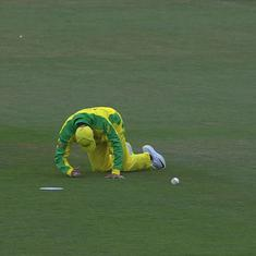 World Cup warm-up: Brief scare for Usman Khawaja as he limps off the field but returns to bat