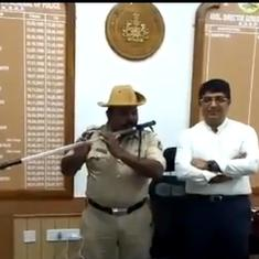Watch: This Karnataka police constable converted his baton into a flute to play folk songs