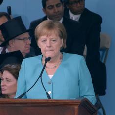 'Tear down walls of ignorance, nothing has to stay as it is': Watch Angela Merkel speak at Harvard