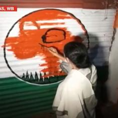 Watch: Mamata Banerjee 'recaptures' TMC office from the BJP by painting party symbol