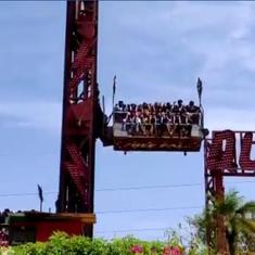 Watch: Twelve riders have a narrow escape as theme park ride snaps a cable and crashes down