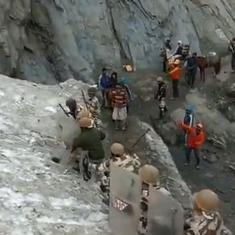 Watch: ITBP personnel guard Amarnath pilgrims from shooting stones on the journey