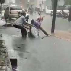 BMC says video of scooter sinking into open manhole is not from Mumbai