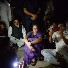 सोनभद्र मामला : प्रियंका गांधी ने रात गेस्ट हाउस में बिताई, अब भी लौटने को तैयार नहीं