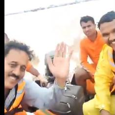 Watch: Maharashtra minister waves in videos during flood inspection, NCP calls it disaster tourism