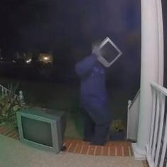 Watch: Mysterious person wearing a TV on their head leaves old television sets outside houses
