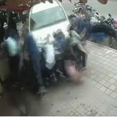 Watch: A drunk driver mounted a Bengaluru pavement on his SUV, mowing down pedestrians