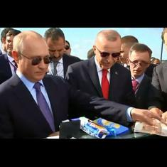 Watch: Russian President Putin takes Turkish President Erdogan out for ice-cream