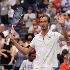 US Open: Daniil Medvedev beats Stan Wawrinka and a leg injury to make the semis