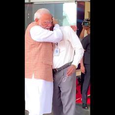 Watch: ISRO chief hugs Modi, breaks down after space agency loses contact with moon lander Vikram
