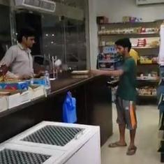 Watch: A man throws cash at a shop employee, the employee responds in kind. Guess what happened next