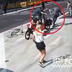 Caught on camera: London cyclist jumps a light, head-butts a pedestrian to the ground