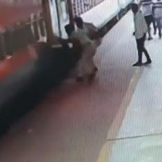 Watch: Man slips while trying to board a moving train. Alert RPF officers save his life