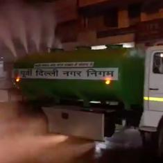 Watch: Delhi authorities spray water on roads to control post-Diwali pollution – but does it work?