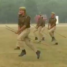 Watch: Why were Firozabad policemen riding batons as horses at a riot-control drill?