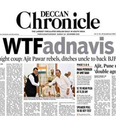 Maharashtra's early morning drama spawns  inspired newspaper headlines