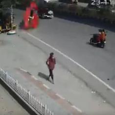 Caught on camera: Car flies off Hyderabad flyover to land on the street, killing one, injuring six