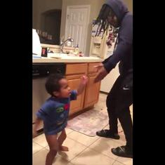 Watch: Toddler and his father rap the alphabet together, complete with a dance