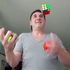 Watch: Real or a hoax? Man solves three Rubik's cubes while juggling with them. Or does he?