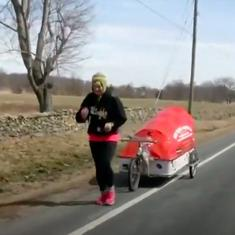 Watch: A 73 year-old woman is running from Britain to Kathmandu to raise money for Nepal
