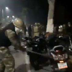 Watch: Police fire tear gas, vandalise bikes after clashes with Aligarh Muslim University protesters