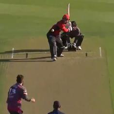 Watch: Leo Carter slams six sixes in an over in New Zealand's Super Smash T20 tournament