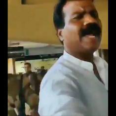 Watch: Congress corporator Vikrant Chavan was spottd shouting at a journalist, grabbing her phone