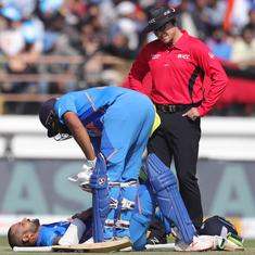 Third ODI: Shikhar Dhawan hit on rib cage but set to be fit for series decider against Australia