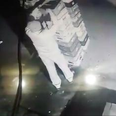 Caught on CCTV: Noida policeman steals packets of milk from a supply shop