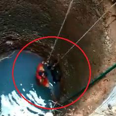 Watch: Mangaluru woman climbs down a 12-feet-deep well to save a stray dog from drowning