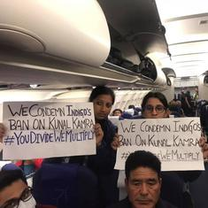 Watch: Passengers onboard an IndiGo flight protest against flying ban on comedian Kunal Kamra